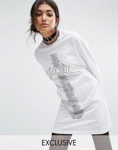 Платье-футболка в стиле oversize с длинными рукавами и принтом Bones - Белый