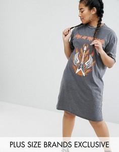 Трикотажное платье-футболка с принтом Daisy Street Plus - Серый