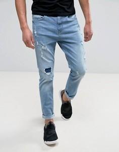 Синие джинсы скинни с эффектом потертости YOURTURN - Синий