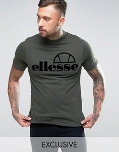 Футболка с высоким воротом и логотипом с набивкой флок Ellesse - Зеленый