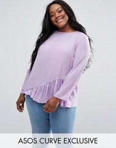 Длинная блузка с длинными рукавами и асимметричной оборкой ASOS CURVE - Фиолетовый