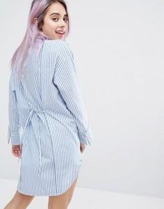 Платье-рубашка в полоску Monki - Синий