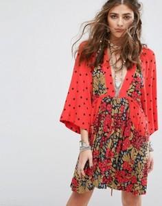 Платье мини с принтом Free People Talulla - Красный