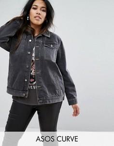 Черная выбеленная куртка ASOS CURVE - Черный