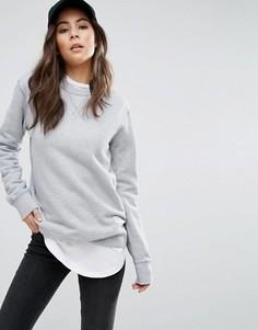 Серый свитшот с круглым вырезом Converse Premium Essentials - Серый