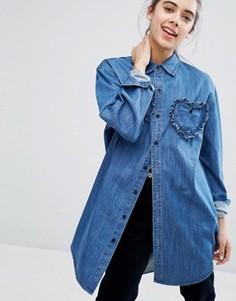 Джинсовая рубашка с отделкой сердечками Lazy Oaf - Синий