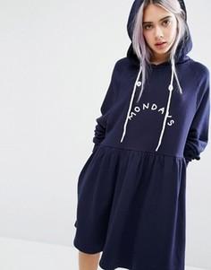Платье с капюшоном Mondays Lazy Oaf - Темно-синий