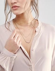 Ожерелье-чокер с тонкими цепочками и искусственным жемчугом ASOS - Розовый