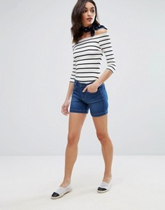 Джинсовые шорты с завышенной талией Vero Moda - Синий