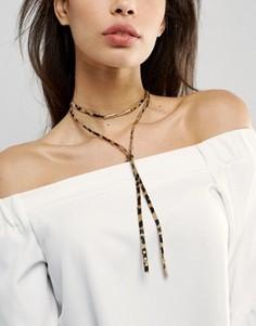Ожерелье-чокер со звериным принтом ASOS - Мульти