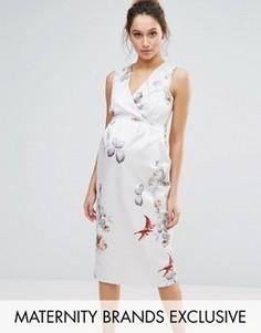 Облегающее платье миди с цветочным принтом Hope & Ivy Maternity - Розовый