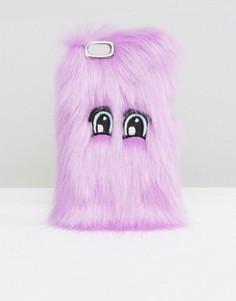 Пушистый чехол для iPhone от Monki - Фиолетовый