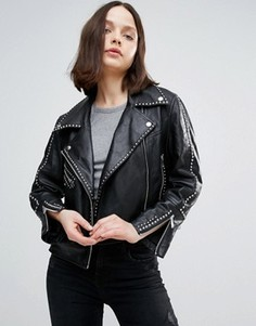 Кожаная байкерская куртка с отделкой заклепками Urbancode - Черный