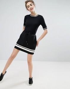 Monki Stripe Detail Jersey Mini Skirt - Черный