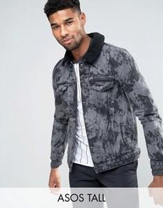 Серая джинсовая куртка с меховым воротником ASOS TALL - Черный