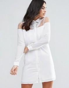 Платье с кружевной отделкой Fashion Union - Белый