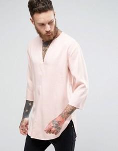 Розовая длинная рубашка классического кроя с V-образным вырезом ASOS - Розовый