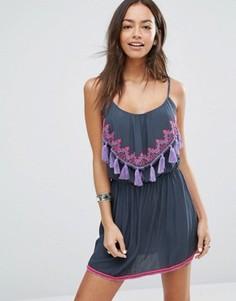 Пляжное платье с неоновой отделкой и кисточками Surf Gypsy - Мульти