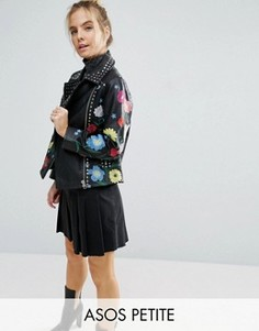 Кожаная байкерская куртка с цветочной вышивкой ASOS PETITE - Черный