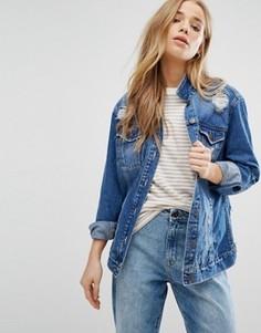 Джинсовая куртка с прорехами New Look - Синий