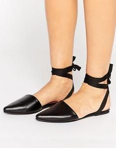 Остроносые туфли с завязкой вокруг щиколотки Park Lane - Черный