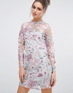 Сетчатое премиум-платье мини с вышивкой New Look - Кремовый