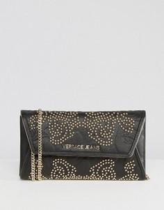Клатч через плечо в стиле барокко с заклепками Versace Jeans - Черный