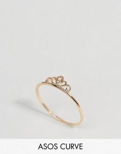 Кольцо в виде короны на большой палец ASOS CURVE - Золотой