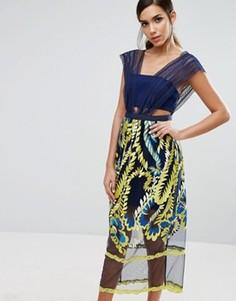 Платье миди с вышивкой на юбке Three Floor - Мульти
