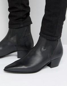 Черные кожаные ботинки на кубинском каблуке со вставкой в виде молнии ASOS - Черный