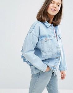 Джинсовая куртка с оборками Monki - Синий