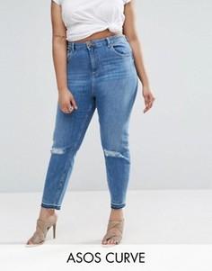 Джинсы в винтажном стиле с рваными коленями и распоротым низом ASOS CURVE Farleigh - Синий