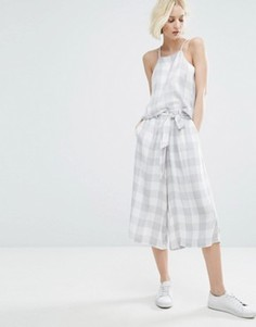 Native Youth Awkward Length Trousers With Tie Waist In Large Gingham Co-Ord - Серый
