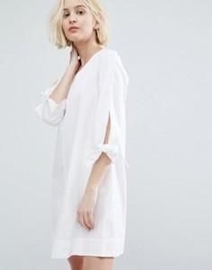 Платье-трапеция в минималистском стиле с завязками на рукавах Native Youth - Белый