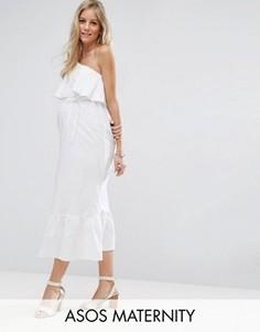 Платье макси на одно плечо ASOS Maternity - Белый