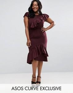 Приталенное платье миди с асимметричными оборками ASOS CURVE - Красный