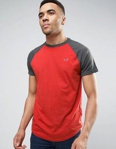 Узкая футболка с контрастными серыми рукавами реглан Hollister - Серый