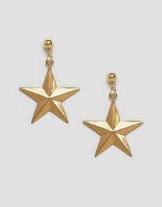 Серьги из латуни в форме звезд Rock N Rose Erica - Золотой