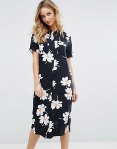 Платье-рубашка миди с цветочным принтом Vila - Черный