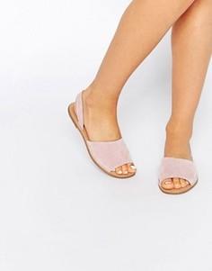 Замшевые сандалии из двух частей Pieces Evey - Розовый