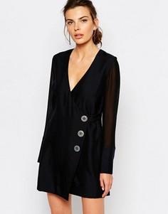 Платье на пуговицах с запахом C/meo Collective - Черный