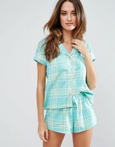 Зеленая пижама в клетку Chelsea Peers - Зеленый