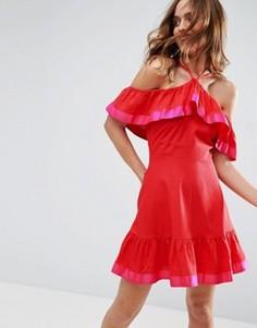 Льняной сарафан с ленточной отделкой и открытыми плечами ASOS - Красный