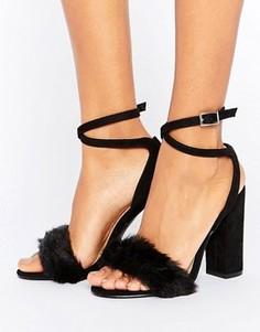Черные бархатные босоножки на каблуке с искусственным мехом Truffle Collection - Черный