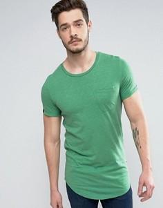 Длинная меланжевая хлопковая футболка с карманом Produkt - Зеленый
