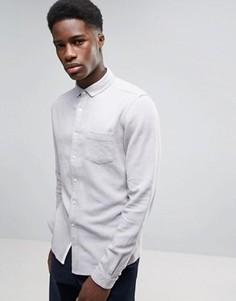 Серая фактурная льняная рубашка классического кроя ASOS - Серый