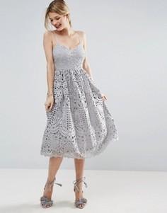 Ажурное платье миди для выпускного ASOS - Серый