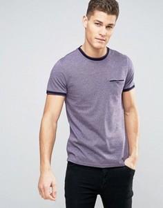 Фактурная футболка с контрастной отделкой Ted Baker - Фиолетовый