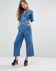 Джинсовый комбинезон с широкими укороченными штанинами M.i.h Jeans - Синий