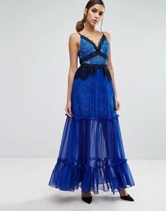 Ярусное платье макси с кружевной отделкой Three Floor - Синий